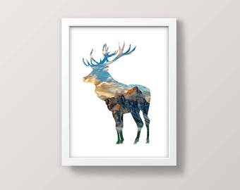 Deer Print, Moose Elk Print, Nature Art Print, Digital, Wall Art Printable, Animal Decor, Nature Wall Art Instant Download