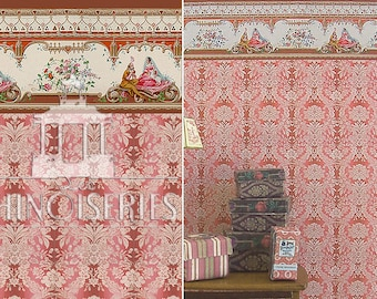 Dollhouse Miniature Wallpaper, Rouge, Scale One Inch