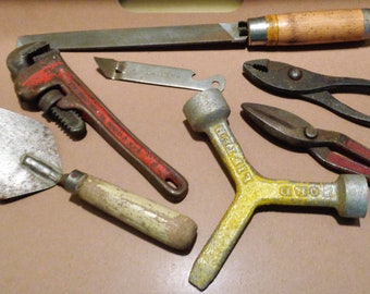 Lot of 6 Vintage Heavy Metal Tools Wrench Tin Cutters File
