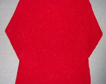 Sparkly Red Sweater Tacky Gaudy Ugly Christmas Party X-Mas Winter Warm L Large XL Extra X Large