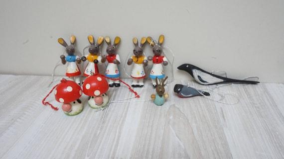 10 German Erzgebirge hanging Easter figurines bunny rabbit mushroom bird