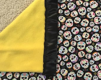 Day of the Dead Blanket, Hipster Baby Blanket, Hipster Baby Bedding,  Rockabilly Bedding, Hipster Baby Gift, Baby Shower Gift, Baby Shower