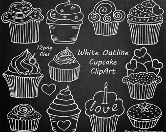 White Outline Cupcake Clipart, Doodle Cupcakes Clip art, Hand drawn cupcake clip art, PNG, For Personal and Commercial use
