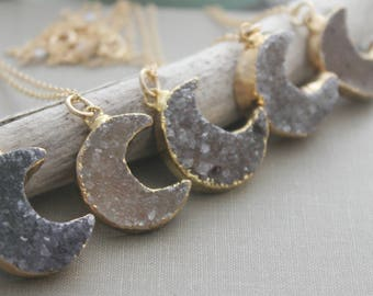 Druzy moon necklace, gold dipped drusy stone, Celestial necklace, Crescent moon necklace, Sparkly quartz crystal druzy, grey taupe