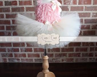 Tutu Dress, Baby Girls 1st Birthday Outfit, Flower Girl Dress, Pink Ivory Tutu, Lace Tutu Set, Wedding Tutu, Cake Smash, Vintage Tutu Dress