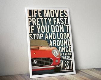 Ferris Bueller's day off movie poster, Ferris Bueller's day off print, ferris bueller poster, Ferrari 250 GT California Ferrari