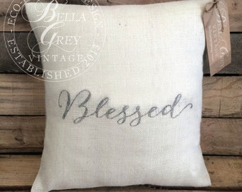 Blessed Burlap Pillow Cover - Rustic Decor - Fall Pillow - Hostess Gift - Housewarming Gift - Birthday Gift - Christian Gift