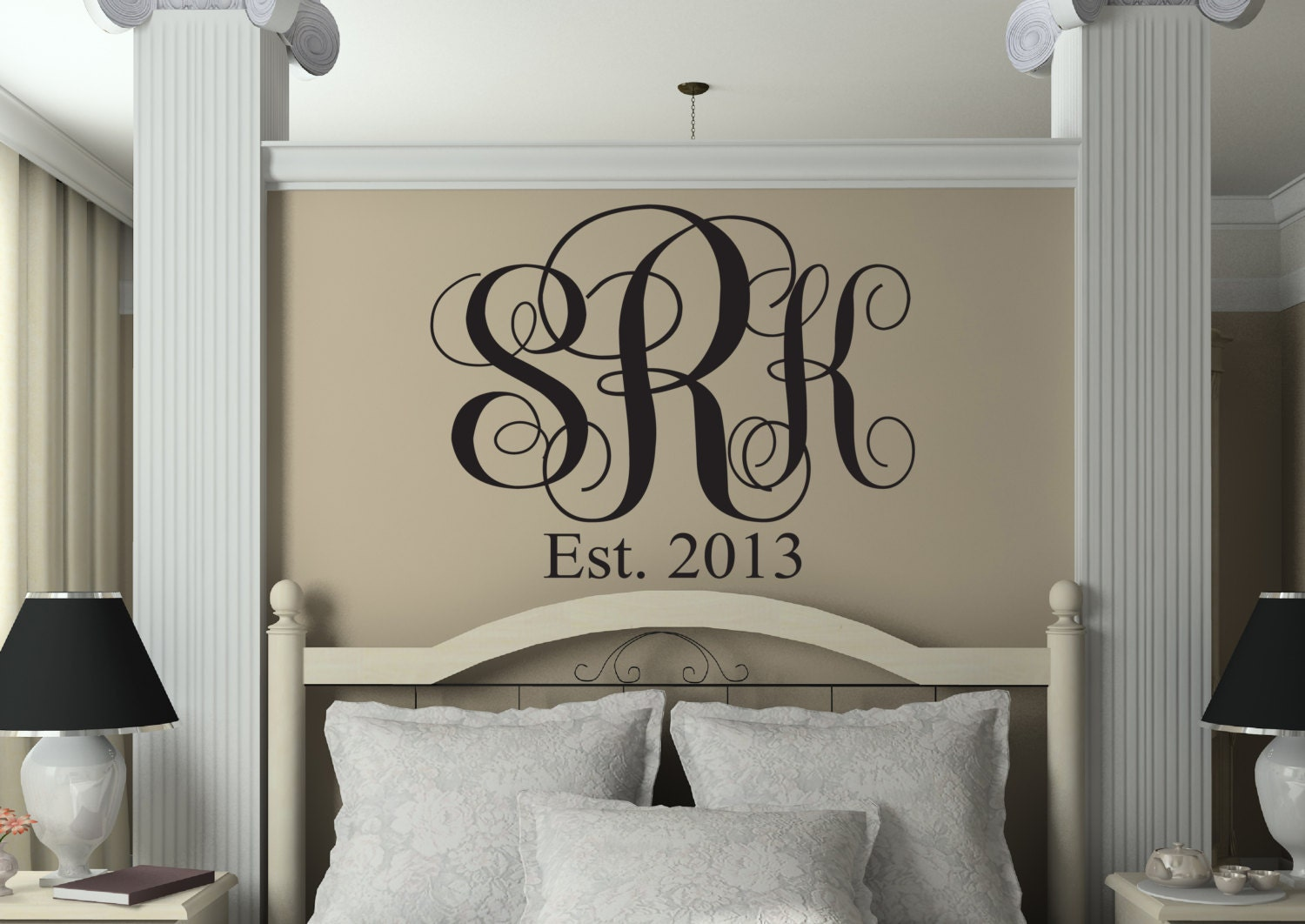 Monogram Wall Decal Personalized Initials Monogram Letters - Monogram vinyl wall decals & Monogram Wall Decal Personalized Initials Monogram Letters ...