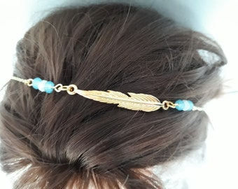 Turquoise and white glass beads and gold leaf headband