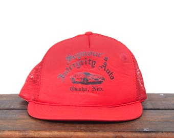 "Vintage Trucker Hat Snapback Hat Baseball Cap Seymour's ""Intergrity"" Auto Car Repair Garage Nebraska"