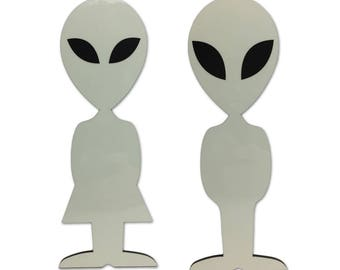 Glow In The Dark - Alien Men and Women Silhouette Bathroom Sign Cut Out Of Acrylic