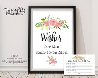 Wishes for the Bride Game - TULA Collection - Printable Bridal Shower Activity - Floral Watercolor Bridal Shower - Instant Download