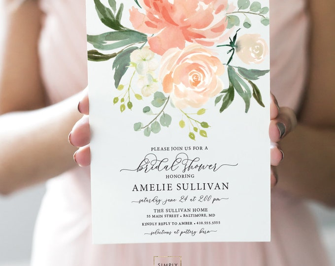 Peaches and Cream Floral Bridal Shower Invitation - Soft Peach Flowers - Baby Shower - Cream Roses Greenery Invitation Watercolor Printable