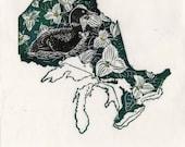 Ontario, common loon and trilium linocut - Lino Block Print Maps of Canadian Provinces & Territories with Provincial Symbols - Ontario Loon
