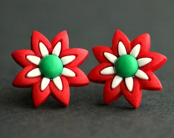 Christmas Jewelry. Red and Green Earrings. Holiday Flower Earrings. Christmas Earrings. Bronze Post Earrings. Holiday Earrings.