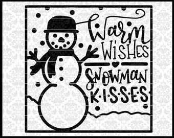 CLN0699 Warm Wishes Snowman Kisses Glass Block Christmas SVG DXF Ai Eps PNG Vector Instant Download Commercial Cut File Cricut SIlhouette