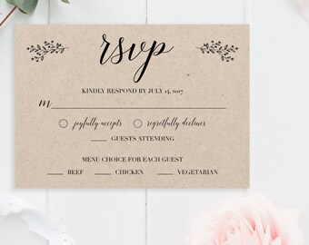 Rustic Wedding RSVP Cards Template Rsvp Card Wedding Template Printable Wedding Editable Rsvp Template Wedding Response Cards Kraft Wedding