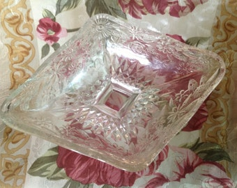 vintage cut glass footed diamond shaped candy nut dish with wildflowers