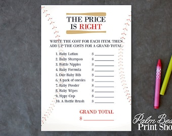 The Price is Right Baseball Baby Shower Game - Baseball Printable Game - Baby Shower Printable - Sport Themed Baby Shower - Instant Download