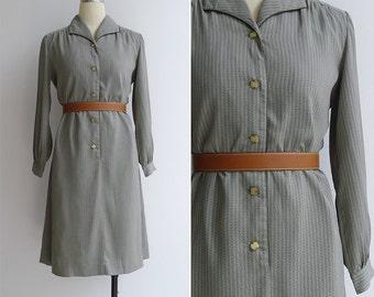 Vintage 80's 'Pyjama Party' Jade Green Geometric Print Dress S or M