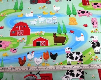 Farm Life scenes animals cows pigs main blue Henry Glass cotton quilt fabric by the fat quarter (50cm x 55cm) more available