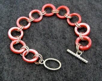Beaded Bracelet - Pink Shell by randomcreative on Etsy