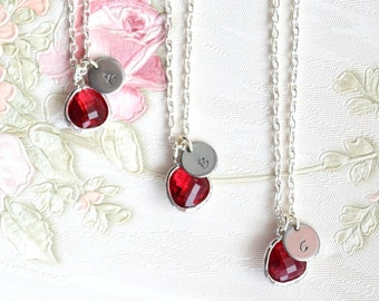 Bridesmaid necklace Bridesmaid gift Fuchsia necklace Personalized bridesmaid necklace Hot pink jewelry Best Friend necklace Crystal necklace