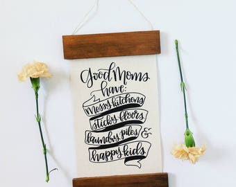 Wood Rails Good Moms Quote on Handmade Paper - Good Moms Quote - Motherhood Quote - Handmade Paper Print
