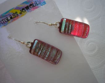 Dichroic Glass Earrings, Cranberry with Aqua Silver Frost, Fused Glass Jewelry,  .925 Sterling Dangles, Iridescent Earrings, Striped Earring