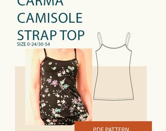 camisole pattern pdf, spaghetti strap tank top pattern women, DIY clothing, layering tank top pattern, plus size clothing pattern, underwear