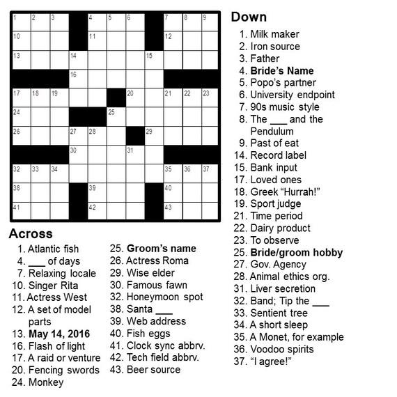 Personalized crossword perfect for weddings anniversaries for Cruciverba da stampare facili