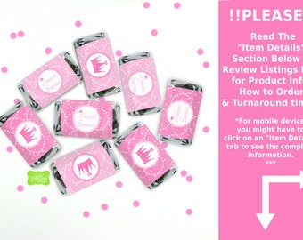 Princess Miniature Candy Bar Wraps - Chocolate Bar Wraps - Princess Candy Labels - Princess Party Favors - Emailed or Shipped
