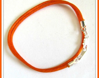 12 to 24 inch Orange Satin Necklace Cord, Pendant Cord, Choker Necklace Cord, Jewelry Cord,  Charm Cord,  Silver Lobster Claw, Custom USA