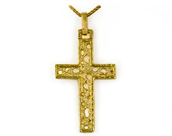 Medium-sized cross pendant, durchbrochner style, for necklaces, 14kt gold Cross
