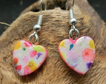 Bright colorful dots heart shaped dangle earrings