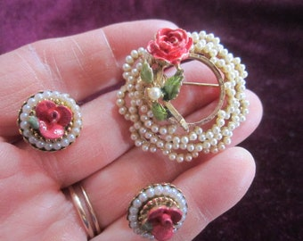Vintage BSK Signed Seed Pearls Goldtone Enamel Rose Brooch and Clip on Earrings