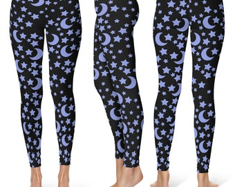 Star Leggings, Blue and Black Night Sky Yoga Pants, Moons and Stars Printed Tights, Space Leggings