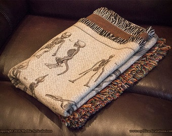 Mythical Creature and Cryptid Skeleton Throw Blanket