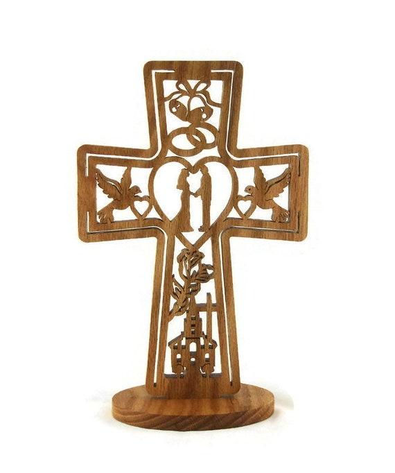Wedding Marriage Cross Handmade From Oak Wood, Church, Bride, Groom, Doves, Hearts, Bells, Flowers, and Cross
