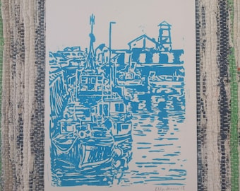 """Hand Printed Harbour Lino Print - """"Boats"""""""