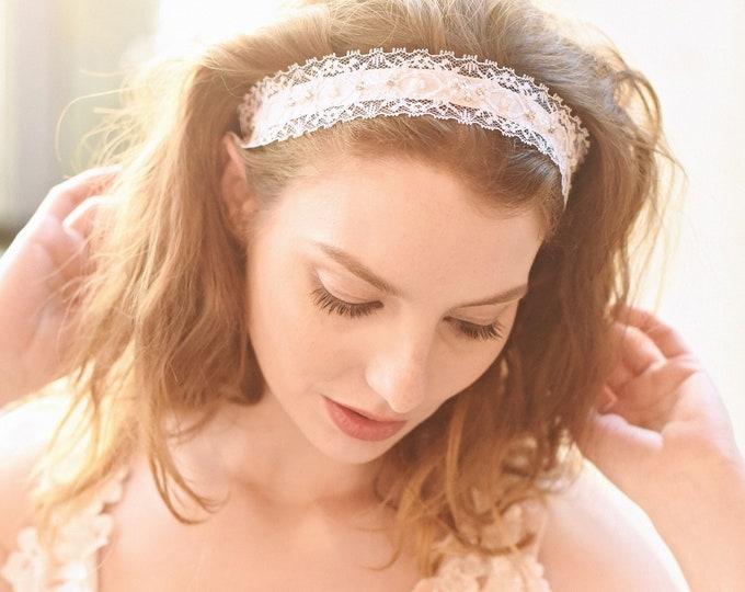 Bridal Lace Headband, Boho Headband, Vintage Lace Headband, Bridal Headband, Lace Headband, Bohemian Headband, Bridal Lace Sash, Style301