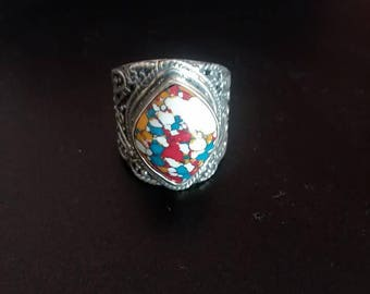 Vintage 925 Thick Sterling Silver Ring with Fancy Design Work and Multi Color Bezel Set Stone Statement Ring