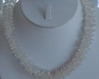 "On sale Aurora Borealis Clear Plastic Beaded Necklace, 17"", Vintage"