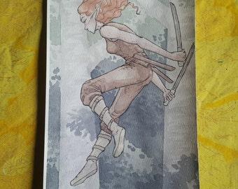 Nächtliche Reise - Original Kunst-Aquarell-Skizze des Comic-Illustration
