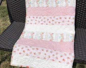 Vintage pink floral girl baby quilt handmade