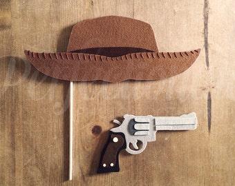 Felt Cowboy Hat and Gun Photo-Booth Prop Set | Western Props | Cowboy Photo Props | Cowboy Hat Prop
