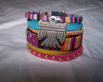 Trendy leather and suede in multicolored tones Cuff Bracelet