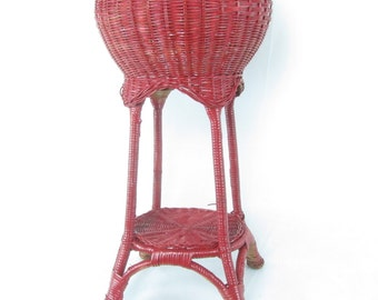 Plant Stand, Vintage wicker plant stand, outdoor furniture, red, ornate wicker, Shabby Chic Furniture