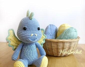 Lars the Dragon in Blue - Amigurumi Dragon - Crochet Dragon - Crochet Animal - Stuffed Animal