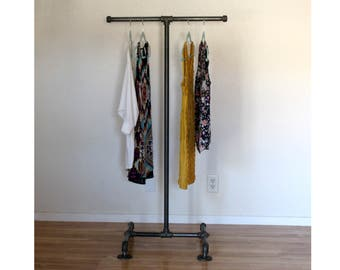 Industrial Clothing Rack - T Stand Pipe Retail Display - Industrial Furniture - Clothing Display - Store Display